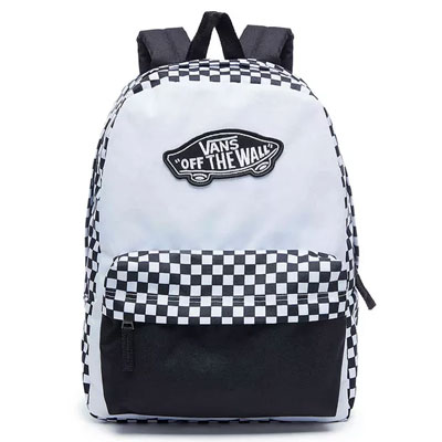 MOCHILA VANS REALM BACKPACK BLACK WHITE CHECKERBOARD